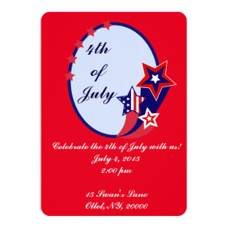 4th of July Red, White, and Blue Party 13 Cm X 18 Cm Invitation Card