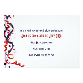 4th of July Red White and Blue Ribbons and Stars 9 Cm X 13 Cm Invitation Card