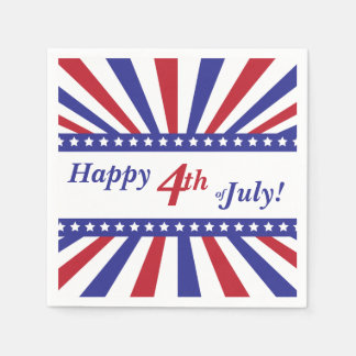 4th of July Red White Blue Stars and Stripes Paper Napkins