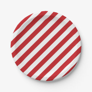 4th Of July Red White Stripes Party Paper Plates