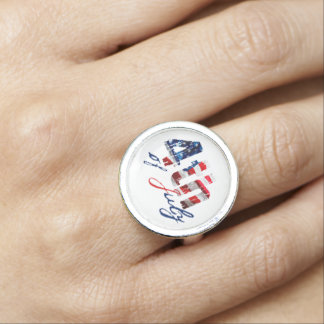 4th of July ring Patriotic Independence day ring Photo Rings