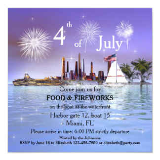 4th of July Sailing or Cruise Fireworks Invitation