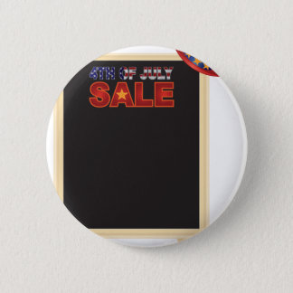 4th of July SALE sign board with Hat Illustration 6 Cm Round Badge