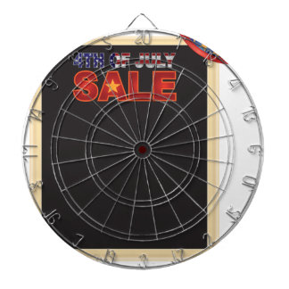 4th of July SALE sign board with Hat Illustration Dartboard