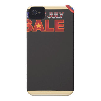 4th of July SALE sign board with Hat Illustration iPhone 4 Case