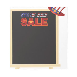 4th of July SALE sign board with Hat Illustration Notepad