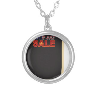 4th of July SALE sign board with Hat Illustration Silver Plated Necklace