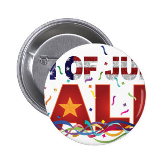 4th of July Sale Text with US Flag Confetti 6 Cm Round Badge