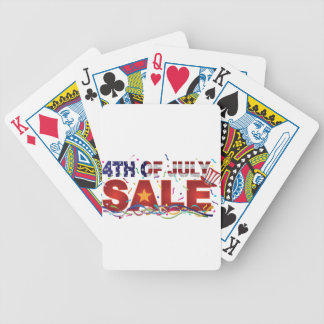 4th of July Sale Text with US Flag Confetti Bicycle Playing Cards