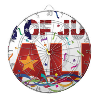 4th of July Sale Text with US Flag Confetti Dartboard
