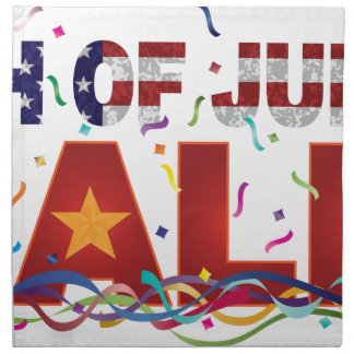 4th of July Sale Text with US Flag Confetti Napkin