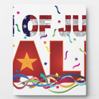 4th of July Sale Text with US Flag Confetti Plaque