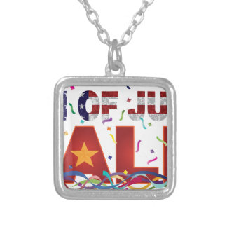 4th of July Sale Text with US Flag Confetti Silver Plated Necklace