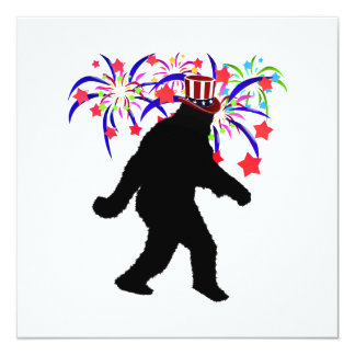 "4th of July Squatchin' w/Fireworks 5.25"" Square Invitation Card"
