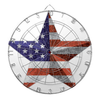4th of July Star Outline with USA Flag Texture Dartboard