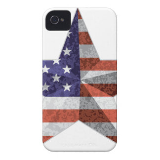 4th of July Star Outline with USA Flag Texture iPhone 4 Cover