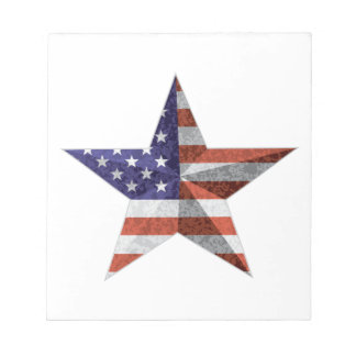 4th of July Star Outline with USA Flag Texture Notepad