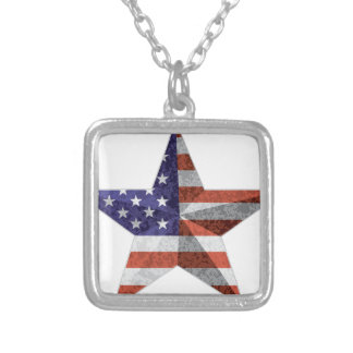 4th of July Star Outline with USA Flag Texture Silver Plated Necklace