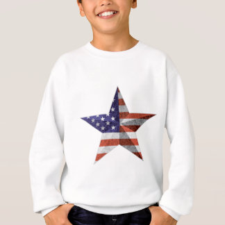 4th of July Star Outline with USA Flag Texture Sweatshirt