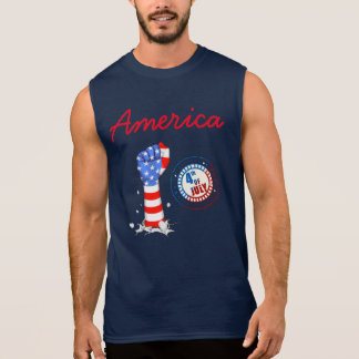 4th Of July Stars and Stripes & American Flag Fist Sleeveless Shirt