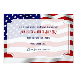 4th of July Stars and Stripes Forever Flag 9 Cm X 13 Cm Invitation Card