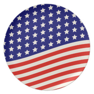 4th of July Stars and Stripes Red White and Blue Dinner Plate