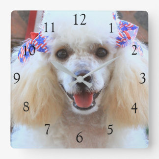 4th of July toy Poodle square clock