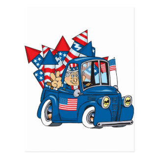 4th of July Uncle Sam In Pickup Postcards