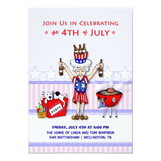 4th of July - Uncle Sam Party BBQ 13 Cm X 18 Cm Invitation Card