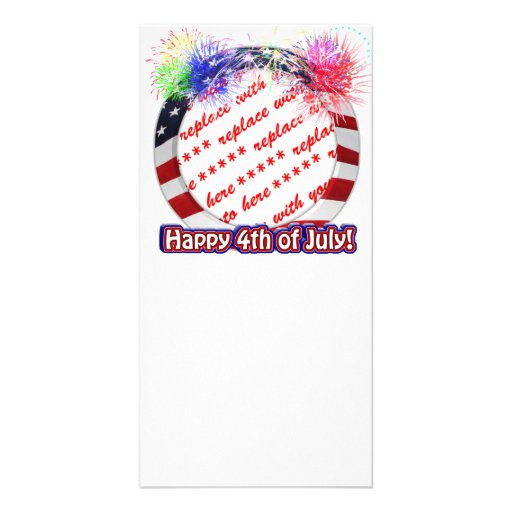 4th of July USA American Flag Circle Frame Picture Card