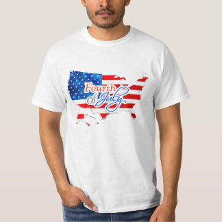 4th of July - USA Flag/Map T-Shirt