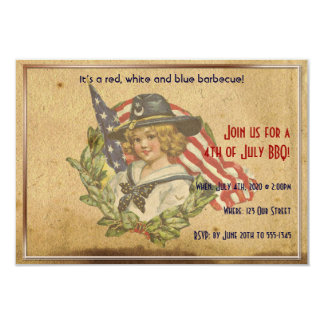 4th of July Vintage Girl with Flags Announcements