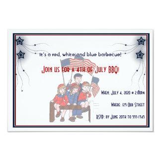 4th of July Vintage Patriotic Kids 9 Cm X 13 Cm Invitation Card