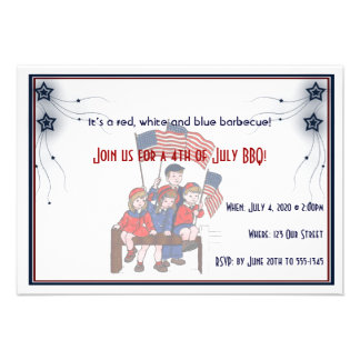4th of July Vintage Patriotic Kids Announcements