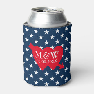 4th of July wedding party can coolers with US flag