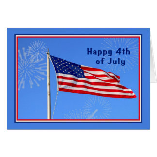 4th of July with American Flag, Fireworks Card