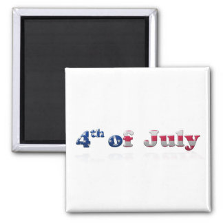 4th of July Writing Square Magnet