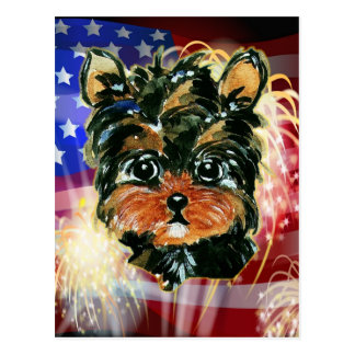 4th of July YORKIE POO Postcard