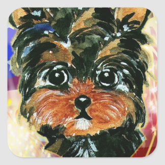 4th of July YORKIE POO Square Sticker