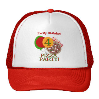 4th Pizza Party Birthday Tshirts and Gifts Cap