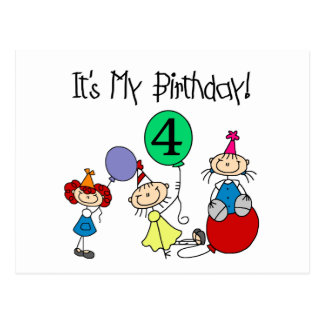 4th Stick Kids Party Birthday Tshirts and Gifts Postcard