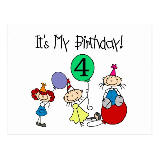 4th Stick Kids Party Birthday Tshirts and Gifts Post Cards