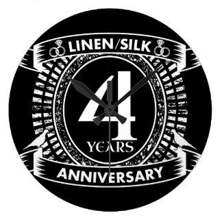 4th wedding anniversary distressed crest large clock