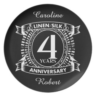 4th wedding anniversary distressed crest plate