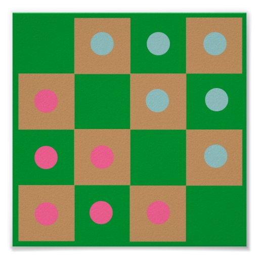 4x4 Halma Fridge ~TAG~ Game Board Poster