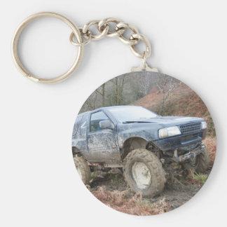 4x4 Off Roader on mud Key Ring