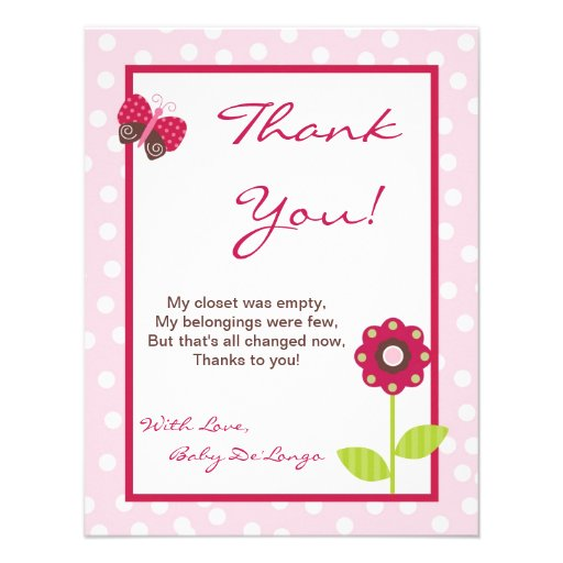 4x5 FLAT Thank You Card Berry Garden Lady Bug Custom Announcement