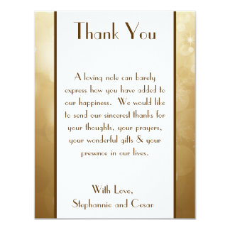 4x5 FLAT Thank You Card Christmas Copper Blur Custom Invites