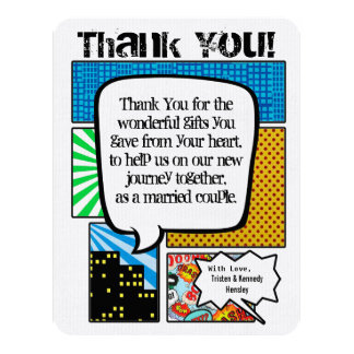 4x5 FLAT Thank You Card Comic Strip Book Pop Art 11 Cm X 14 Cm Invitation Card