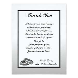 4x5 FLAT Thank You Card His/Hers Diamond Wedding B 11 Cm X 14 Cm Invitation Card